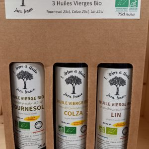 Coffret Authentique – 3 huiles du Jura: Colza, Tournesol, Lin – LOCAL