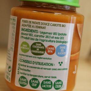 Pot légumes bébé Patates douces et carottes 190 g