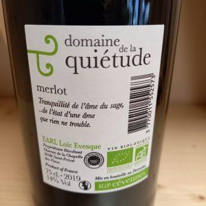 MERLOT 2019 – Domaine de la Quiétude- 75cl – Vin Rouge sans sulfite ajouté