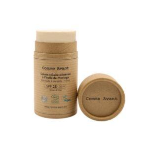 Crème solaire minérale solide à l'huile de Moringa